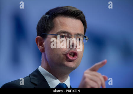 Birmingham, UK. 1st October 2018. James Brokenshire, Secretary of State for Housing, Communities and Local Government and Conservative MP for Old Bexley and Sidcup, speaks at the Conservative Party Conference in Birmingham. © Russell Hart/Alamy Live News. - Stock Photo