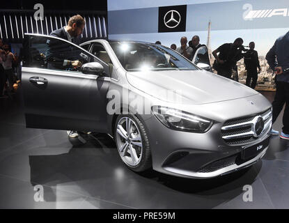 Paris, France. 02nd Oct, 2018. The new Mercedes-Benz B-Class will be presented at the Paris International Motor Show on the 1st press day. From 02.10. to 03.10.2018 the press days will take place at the Paris Motor Show. It will then be open to the public from 04.10. to 14. October. Credit: Uli Deck/dpa/Alamy Live News - Stock Photo