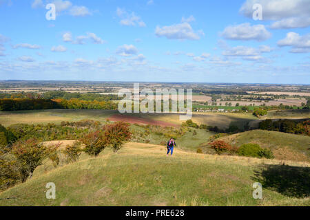 Pegsdon, UK. 01st Oct, 2018. A woman running in the beautiful Pegsdon Hills and Hoo Bit Nature Reserve a popular spot with runners near the village of Pegsdon, Hertfordshire, England. Credit: Martin Parker/Alamy Live News - Stock Photo