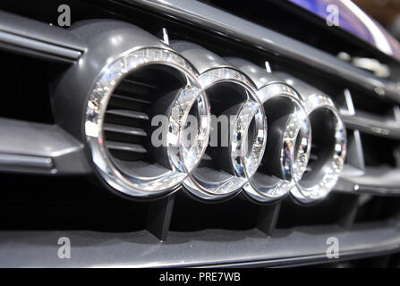 Paris, France. 02nd Oct, 2018. An Audi logo, taken at the Paris International Motor Show on the 1st press day. From 02.10. to 03.10.2018 the press days will take place at the Paris Motor Show. It will then be open to the public from 04.10. to 14. October. Credit: Uli Deck/dpa/Alamy Live News - Stock Photo