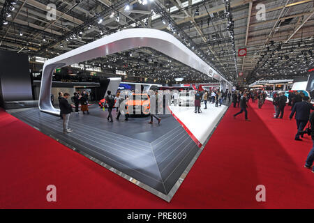 Paris, France. 02nd Oct, 2018. The Audi stand, taken at the Paris International Motor Show on the 1st press day. From 02.10. to 03.10.2018 the press days will take place at the Paris Motor Show. It will then be open to the public from 04.10. to 14. October. Credit: Uli Deck/dpa/Alamy Live News - Stock Photo