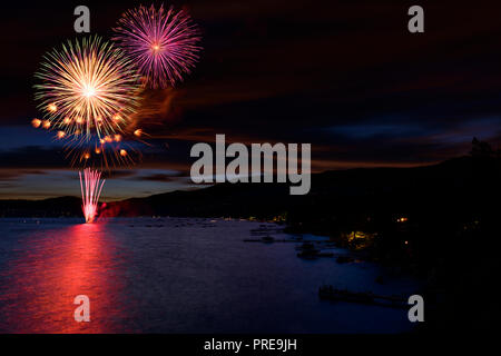 July 5 fireworks show in Incline Village, at Lake Tahoe, Nevada, North America. - Stock Photo