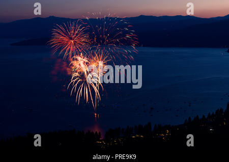 July 3 fireworks show at Kings Beach in North Lake Tahoe, California, USA, 2018. - Stock Photo