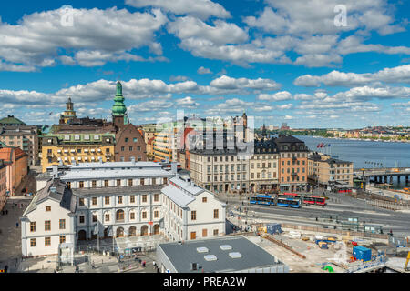 STOCKHOLM, SWEDEN - July 1, 2018 : View of Stockholm city seen from the top level of Katarina Elevator tower - Stock Photo