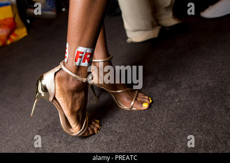 London, UK ,16 September 2018, Backstage at the Kolchagov Barba show at ME Strand hotel, London Fashion Week SS/19. Mariusz Goslicki/Alamy - Stock Photo