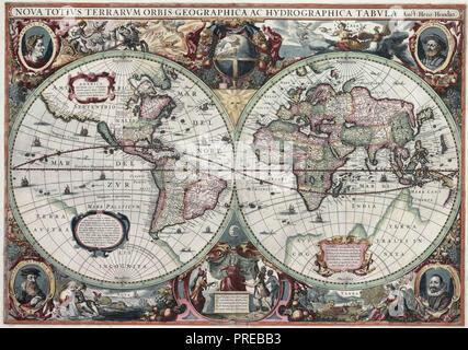 1630 World Map, Nova Totius Terrarum Orbis Geographica ac Hydrographica Tabula - Stock Photo