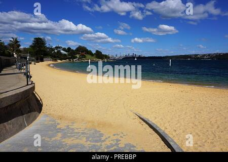 Sweeping View of Camp Cove with Sydney's Skyline on the Horizon - Stock Photo
