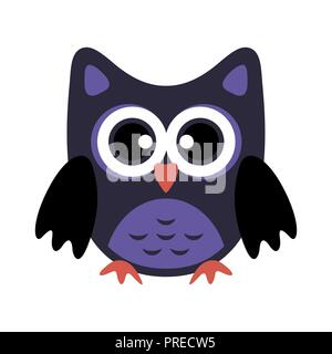 Owl stylized icon in dark blue colors - Stock Photo