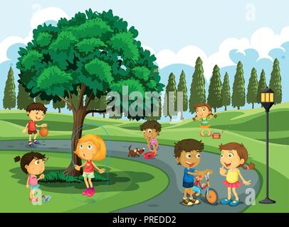 Children playing in the park illustration - Stock Photo
