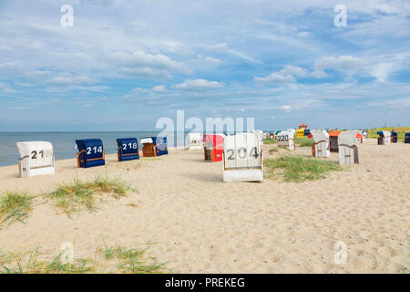 Beach with beach chairs at Hooksiel, Lower Saxony, Germany - Stock Photo