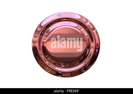 Round 3D web icon with pink chrome texture, blank button template for interfaces (UI) and applications (apps), design item for websites - Stock Photo