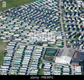 An aerial view of a Mobile Home Park, Morecambe, north west England, UK - Stock Photo