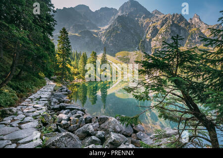Tatra National Park, Poland. Trail Near Famous Mountains Lake Morskie Oko In Summer Morning. Beautiful Scenic View. European Nature. UNESCO's World Ne - Stock Photo
