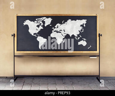 Image of a world map drawn in white chalk on a blackboard - Stock Photo