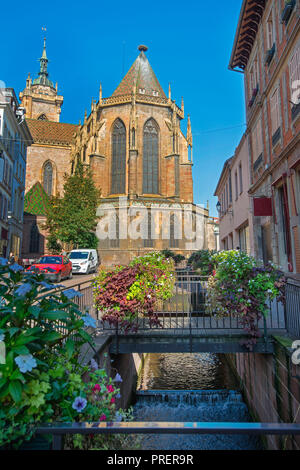 Unterlinden Museum, housed in a 13th-century Dominican religious sisters' features a large collection of local and international artworks - Stock Photo