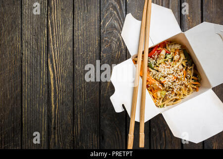 Wok noodles Udon and rice - Stock Photo
