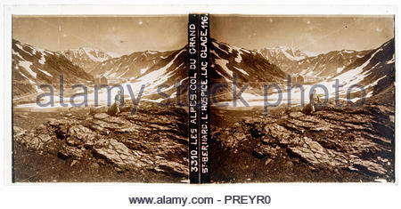 stereo slide Col Du Grand with lake Du Glace and hospice St Bernard n the Alps circa 1920s - Stock Photo