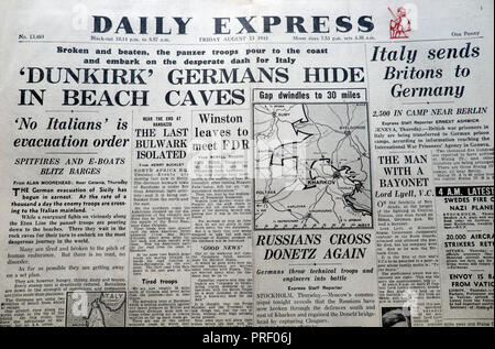 Front page headlines of the Daily Express newspaper  'Dunkirk Germans Hide in Beach Caves'  London England UK August 1943  Second World War archive - Stock Photo