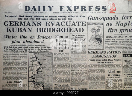 Front page headlines of the Daily Express newspaper 'Germans Evacuate Kuban Bridgehead' London England UK  September 23 1943  historical archive - Stock Photo