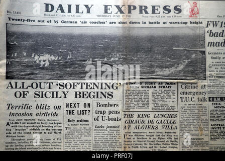 Front page headlines Daily Express newspaper All-Out Softening of Sicily Begins'  Second World War WWII Italy Blitz London England UK June 17 1943 - Stock Photo