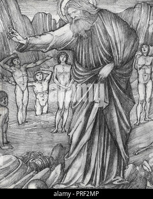 Burne-Jones  Edward Coley - Ezekiel in the Valley of Dry Bones 1 (Study for a Stained Glass Window) - Stock Photo