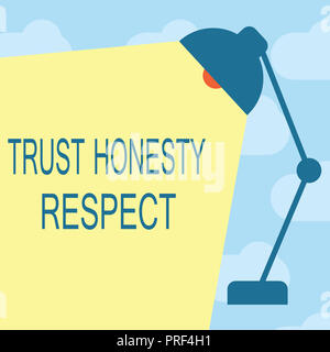 Text sign showing Trust Honesty Respect. Conceptual photo Respectable Traits a Facet of Good Moral Character.