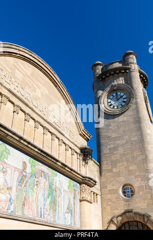 The Horniman Museum clock tower and neoclassical mosaic in Forest Hill, London, England, United Kingdom - Stock Photo