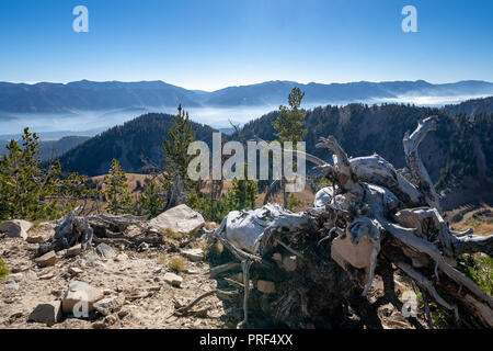 Beautiful mountain view from summit of a mountain in the Bridger-Teton National Forest near Jackson Wyoming. Fog and haze lingers in the mountain rang - Stock Photo