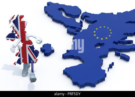 map of United Kingdom with arms, legs and sneackers on his feet that runs away from Europe, 3d illustration - Stock Photo