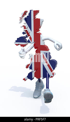 map of United Kingdom with arms, legs and sneackers on his feet that runs, 3d illustration - Stock Photo