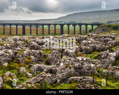 Arches of the Ribblead Viaduct striding across the valley on an overcast day at Ribblehead Yorkshire Dales England - Stock Photo