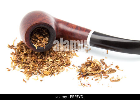 wooden pip with tobacco to smoke - Stock Photo