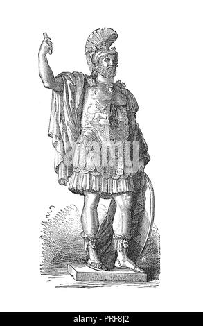 Original artwork of Pyrrhus, king of Epirus, the kingsman of Alexander the Great in Grecian History. Published in A pictorial history of the world's g - Stock Photo