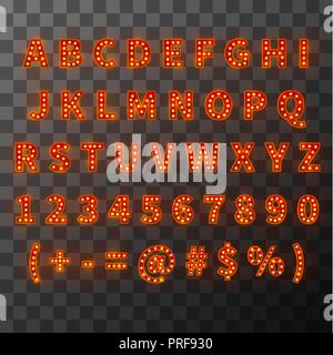 Lighting bulb font, bright alphabet in cabaret style - Stock Photo
