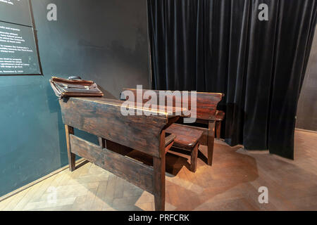 Krakow, Poland - June 3, 2018: Exhibition on the theme of life Krakow Jews during the Second World War in Oskar Schindler's Enamel factory museum - Stock Photo
