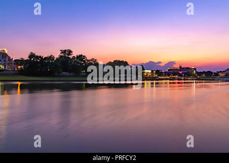 Vistula river in the evening, Krakow, Poland - Stock Photo