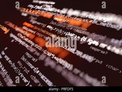 Computer programming code. Online safety, hacking and digital firewall background 3D illustration - Stock Photo