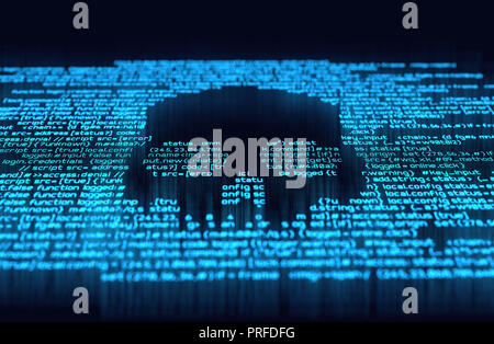 Malicious computer programming code in the shape of a skull. Online scam, hacking and digital crime background 3D illustration - Stock Photo