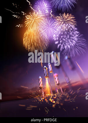 Firework rockets flying into the air and bursting into gold orange and purple breaks lighting up the night sky. Celebration display background. 3D ill - Stock Photo