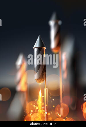 A close up image of a firework rocket about to launch into the night sky. 3D illustration. - Stock Photo