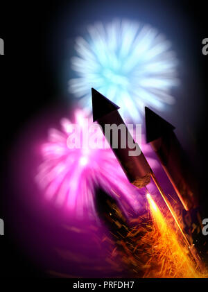 Close up image of firework rockets with a large display in the background. Bonfire night background - 3D illustration. - Stock Photo