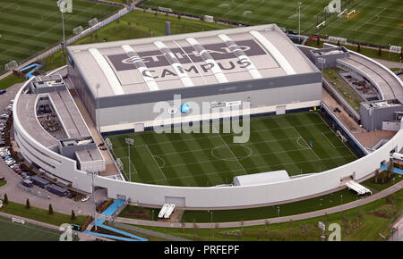aerial view of the Manchester City fc, CFA - 1st Team Centre, part of the Etihad Campus - Stock Photo