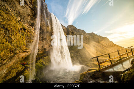 Seljalandsfoss watefall in iseland - wonderful! - Stock Photo