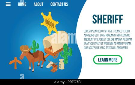 Sheriff concept banner, isometric style - Stock Photo