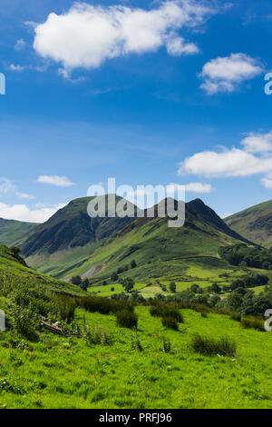 Newlands valley Cumbria, looking south-west from Littletown towards Scope End with Hindscarth beyond it.  Beyond these peaks lies Buttermere Fell. - Stock Photo