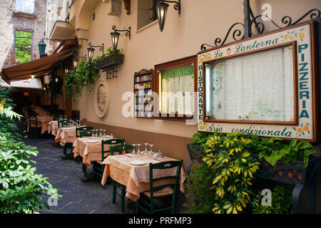 Restaurant at a narrow alley, old town of Sorrento, Peninsula of Sorrento, Gulf of Naples, Campania, Italy