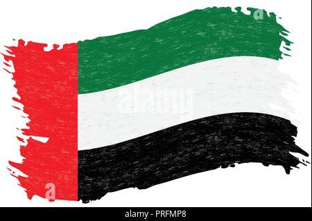 Flag of United Arab Emirates, Grunge Abstract Brush Stroke Isolated On A White Background. Vector Illustration. - Stock Photo