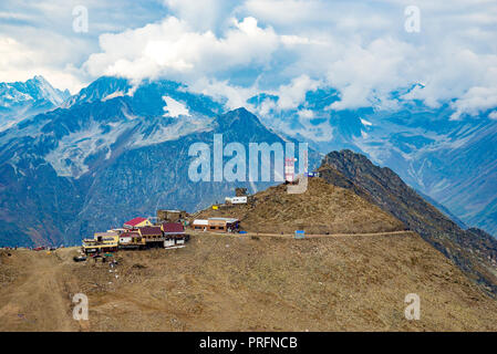 Aerial view from the drone. Summer mountain landscapes of Karachay Cherkessia, Dombay, Western Caucasus - Stock Photo
