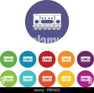 Compartment carriage icons set vector color - Stock Photo