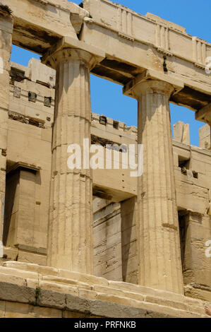 Greece. Athens. Propylaea. Monumental gateway to the Acropolis. It was designed by the architect Mnesicles, 437 BC-432BC. (The Age of Pericles). Doric style columns. - Stock Photo